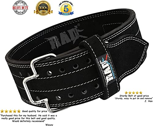 RAD Weight Lifting Leather Belt Powerlifting and Weightlifting Workout for Men Women, Gym Back Support. Release Buckle