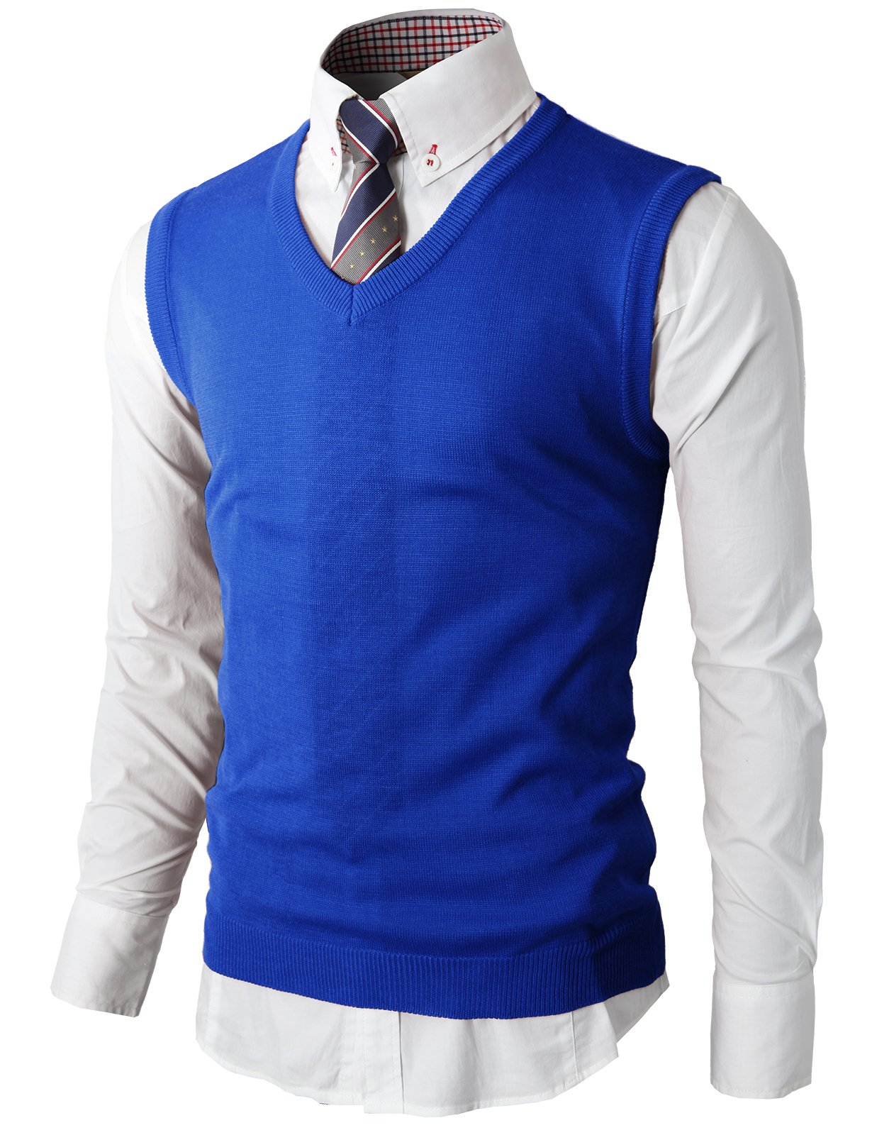 H2H Mens Slim Fit Basic Plain Knitted V-Neck Pullover Sweaters Vest Blue US 2XL/Asia 3XL (KMOV050)