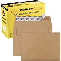 """ValBox 100 Qty A6 Envelopes Self Seal 6.5 x 4.75"""" Brown Kraft Paper Invitation Envelopes for 4x6 Cards, Photos…"""