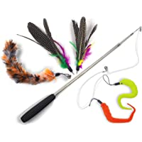 Blinggo Cat Toys Wand Retractable Interactive Feather Teaser Cat Toy with Bell, 5pcs Refills