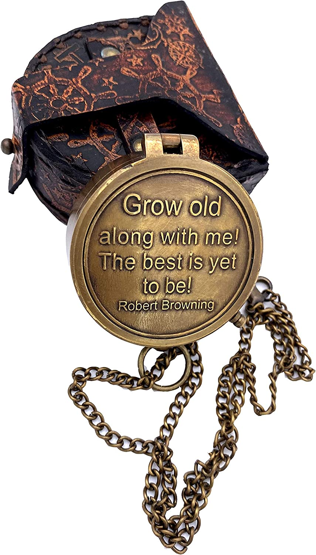 "Handmade""Grow Old Along with Me Sundial – Sundial Compass - Sundial Clock – Anniversary Sundial Gift – Valentine's Sundial (Brass and Leather)"