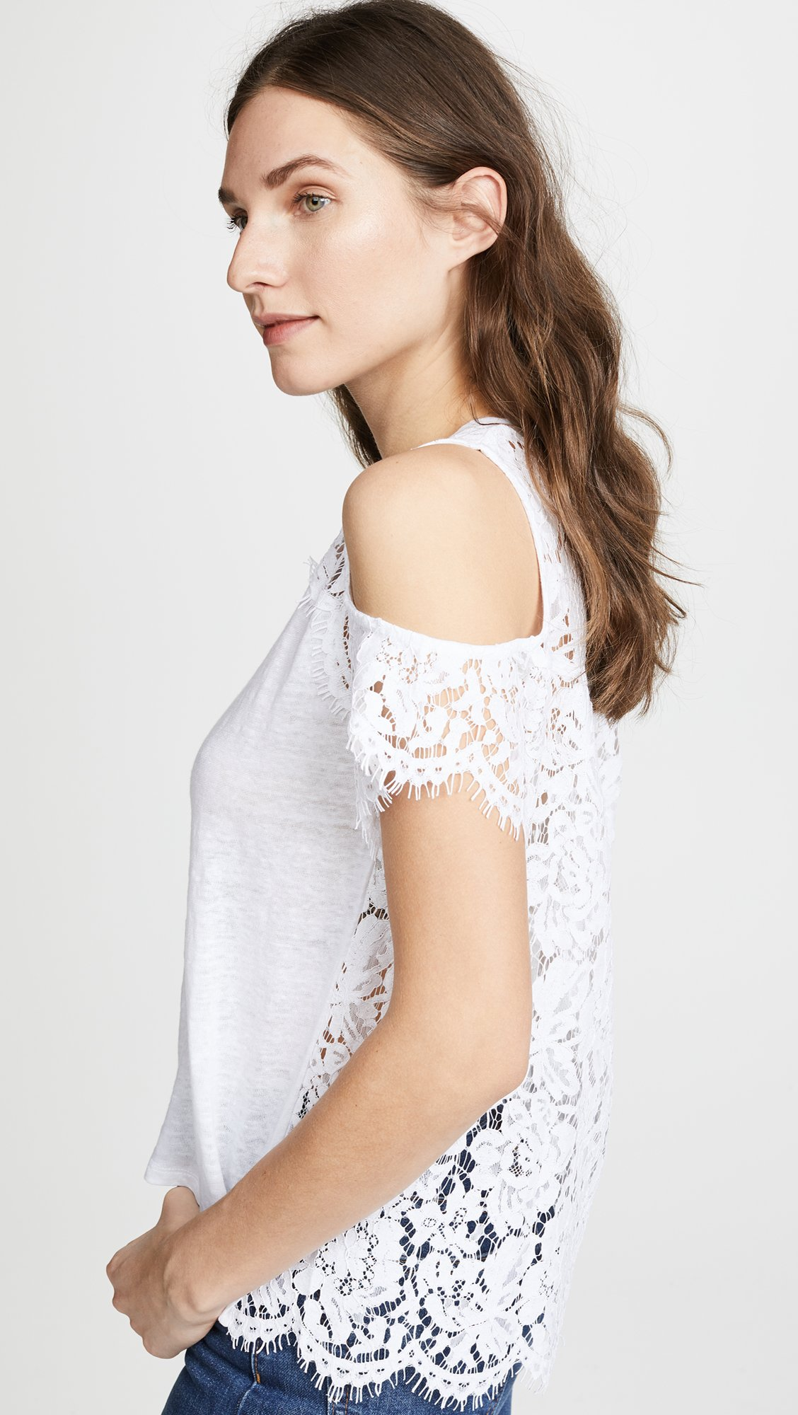 Generation Love Women's London Lace Cold Shoulder Tee, White, Small by Generation Love (Image #2)