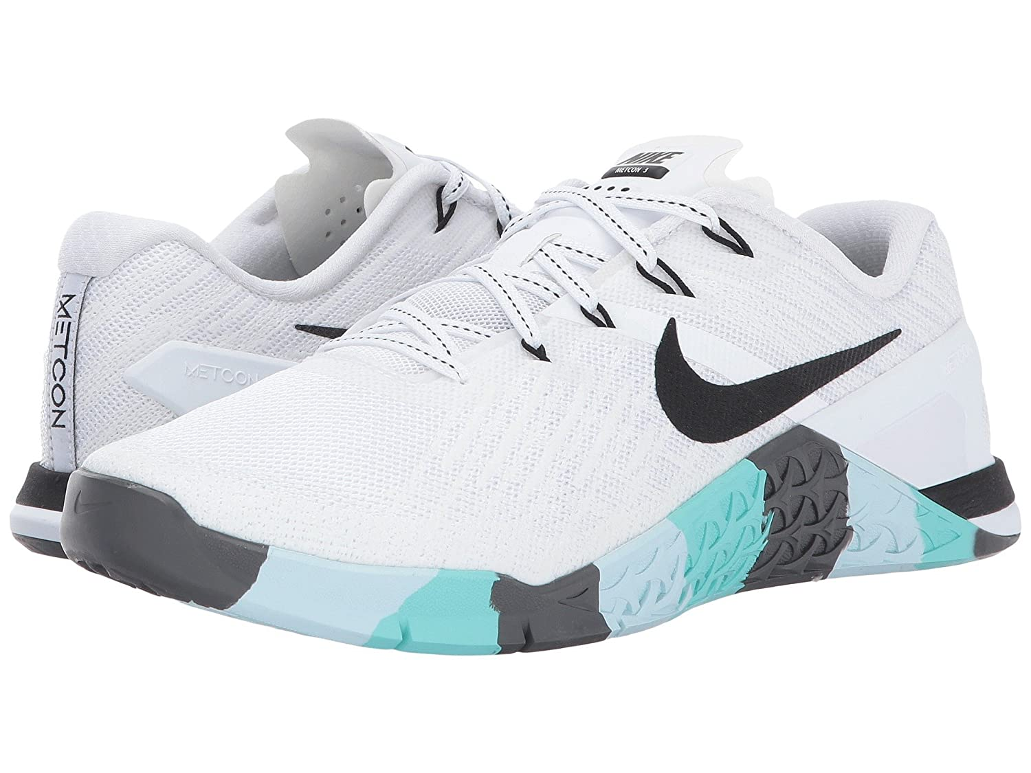 fb0730093ab0 Nike Womens Metcon 3 Training Shoes (White Black Dark-Grey Teal