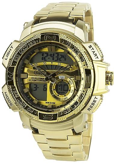 GIORGIO ET DARIO -Reloj Hombre Oro Cuarzo Oro caja Acero pantalla analógica- Digital Pulsera Acero Fecha: Amazon.es: Relojes