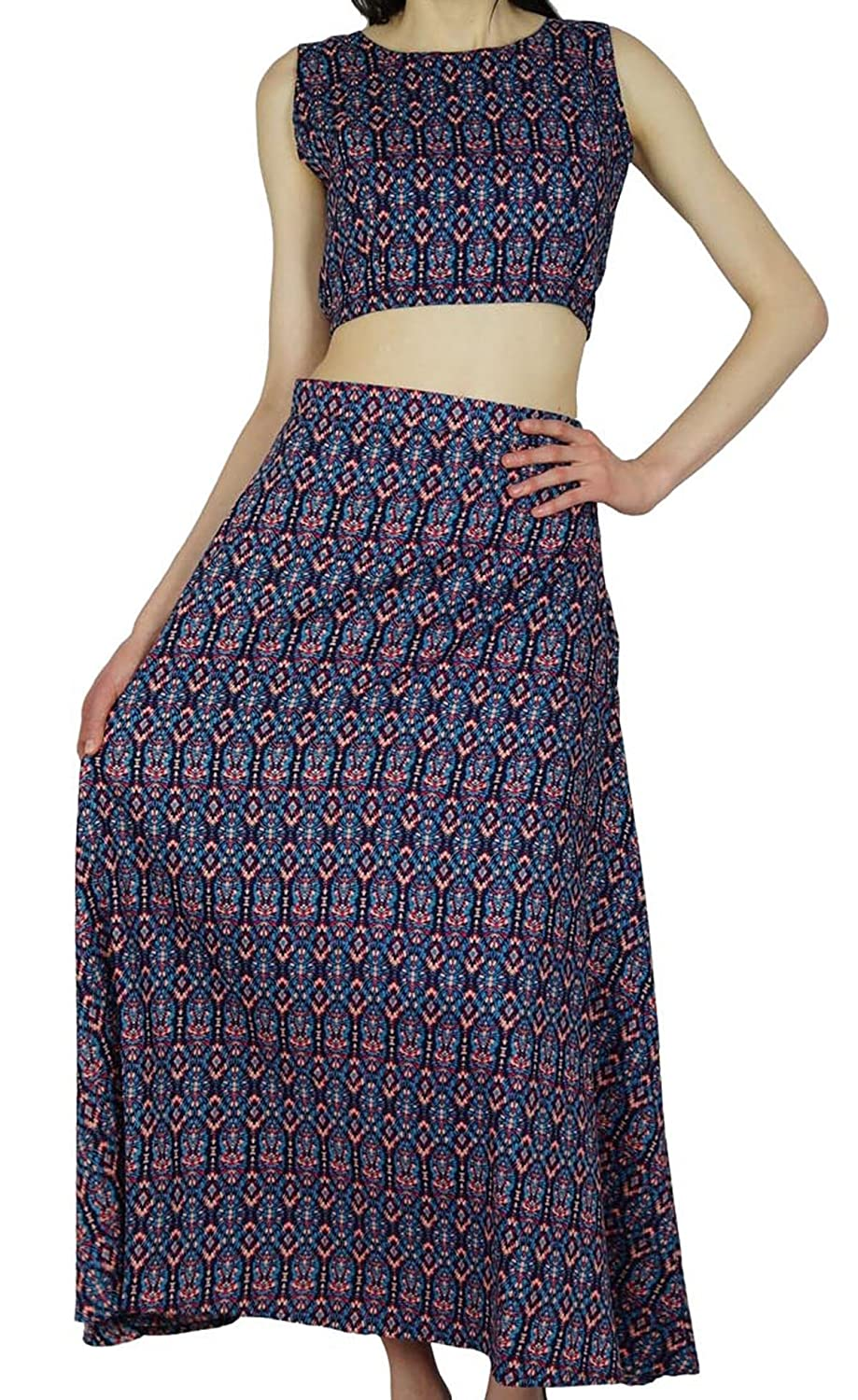 Bimba Womens Long A-Linie Rock mit Crop Top Boho Bohemian Rayon-Sommer-Kleidung