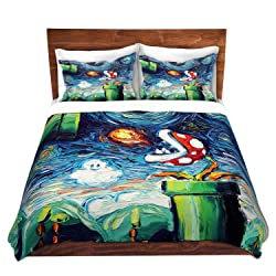 DiaNoche Designs Duvet Cover Brushed Twill Twin, Queen, King SETs Aja Ann - Van Gogh Super Mario Bros 2
