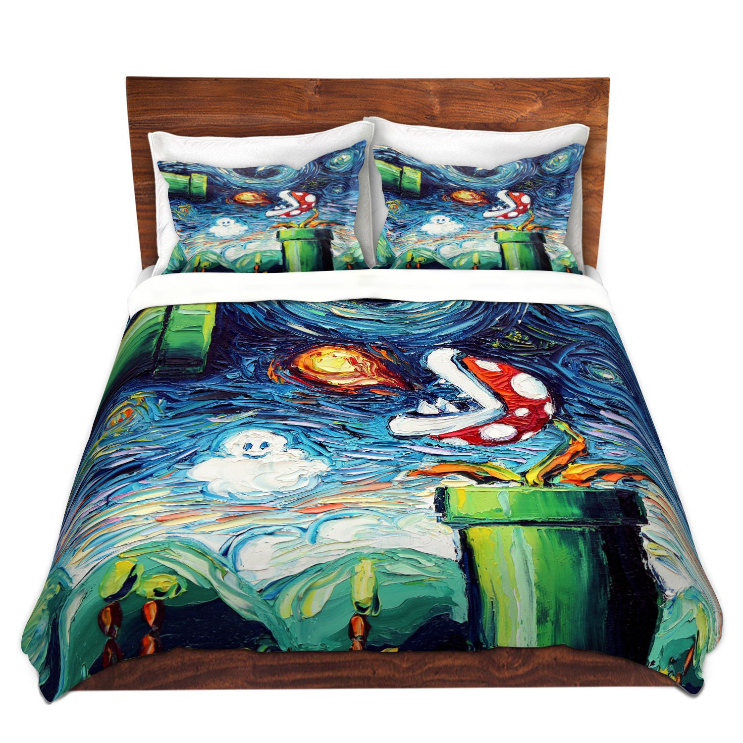 Duvet Cover Brushed Twill Twin, Queen, King SETs DiaNoche Designs Aja Ann - Van Gogh Super Mario Bros 2 by DiaNoche Designs