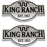 2pcs OEM King Ranch Front Door Tailgate Emblems Badges 3D Nameplate Replacement for F150 F250 F350 Genuine Silver Sanucaraofo