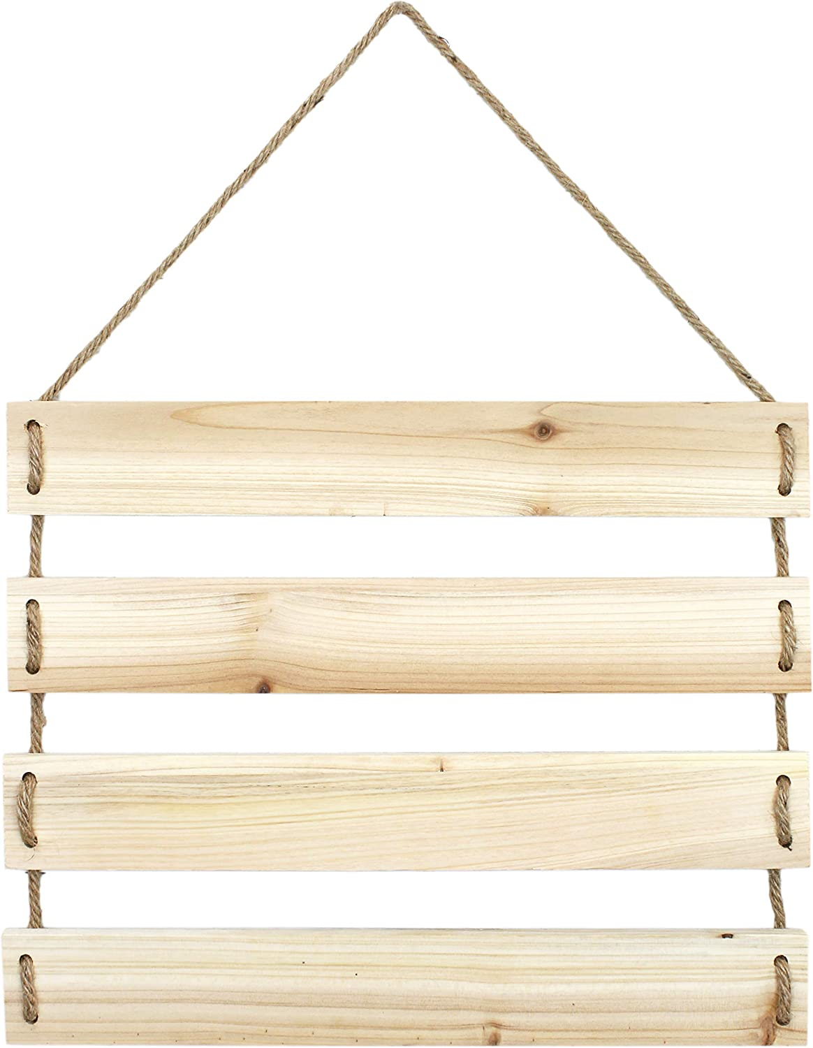 Darware Hanging Rope Plank Sign (Unfinished Natural Wood); Blank Plaque for Rustic Wall Decor