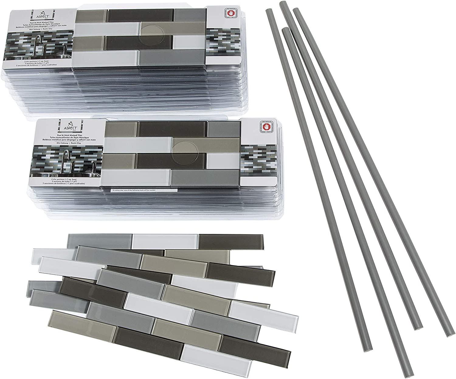 - Aspect Peel And Stick Rustic Clay Matted Glass Backsplash Kit For