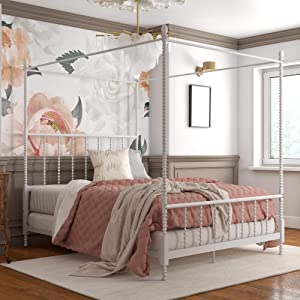 DHP Jenny Lind Metal Full Canopy Bed in White