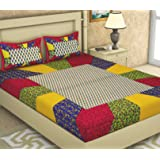 BedZone 100% Pure Cotton Jaipuri Rajasthani Tradition Fast Color King Size Bed Sheet with 2 Pillow Cover - Multi