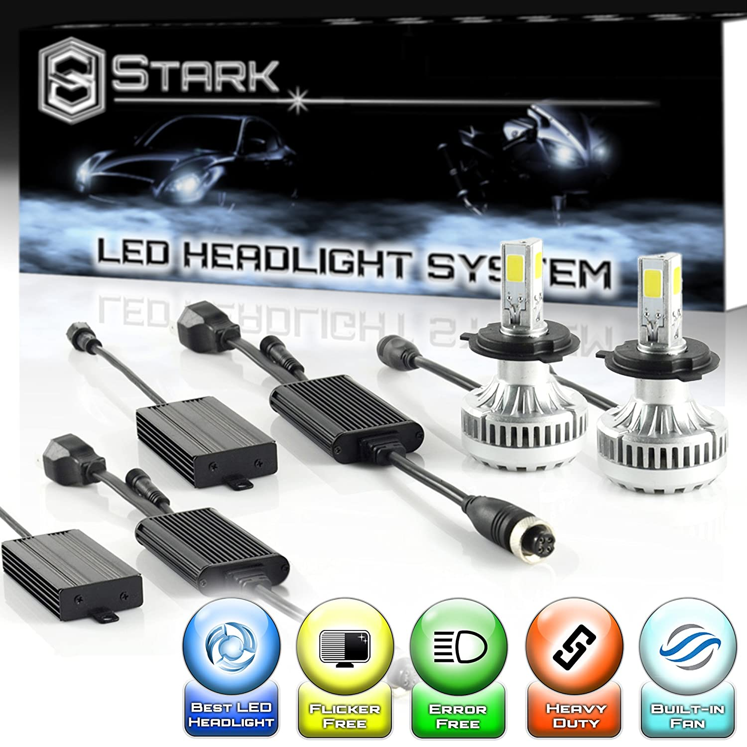 Stark 90W 9000LM LED Headlight Conversion Kit - Cool White 6000K 6K - Dual Hi/Lo Beam - H4 / HB2 / 9003 UNV inc