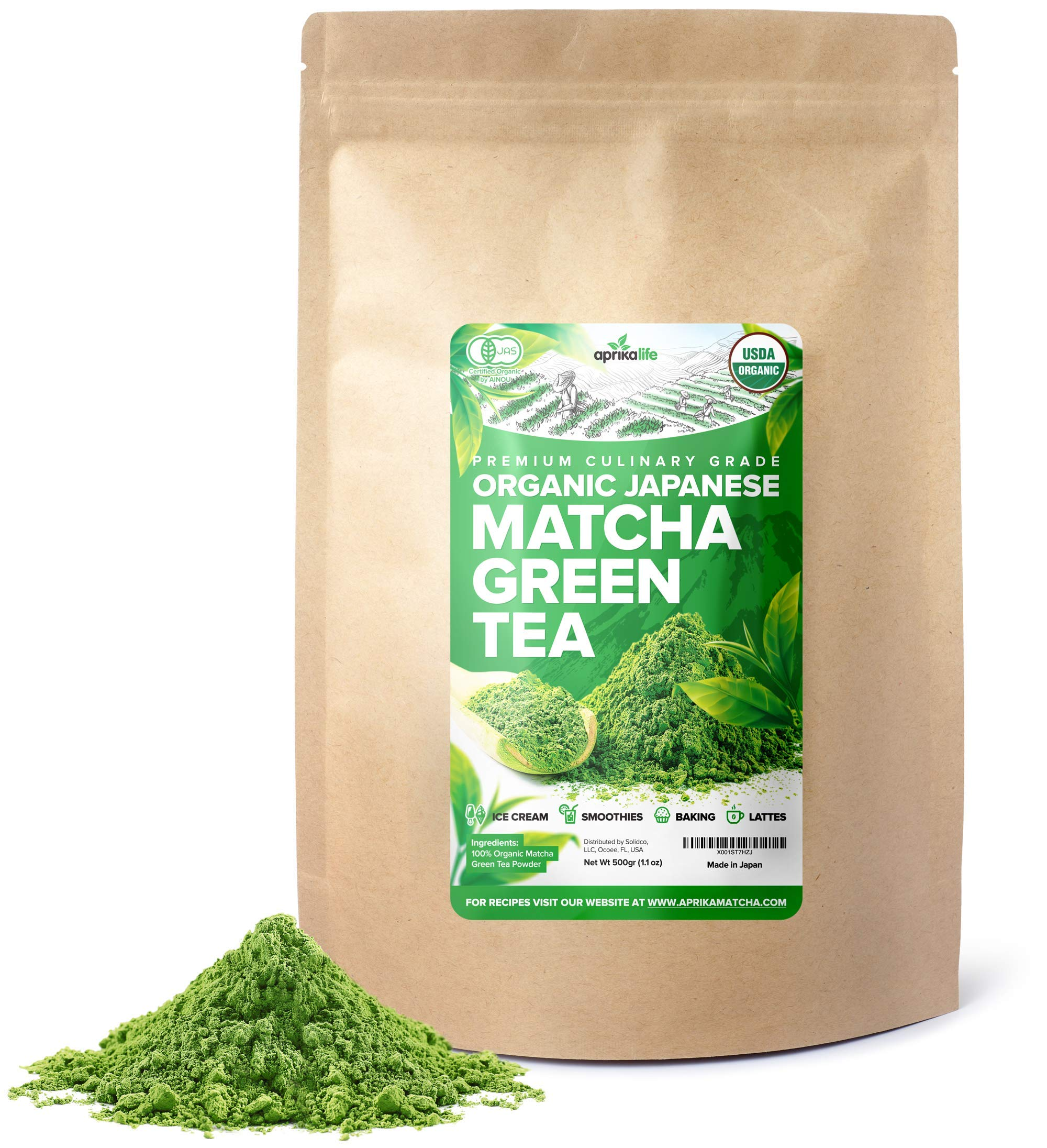 Premium Organic Japanese Matcha Green Tea Powder - USDA & JAS Organic - Authentic Japanese Origin - Culinary Grade - [500g / 1.1 LB Value Size] by Aprika Life