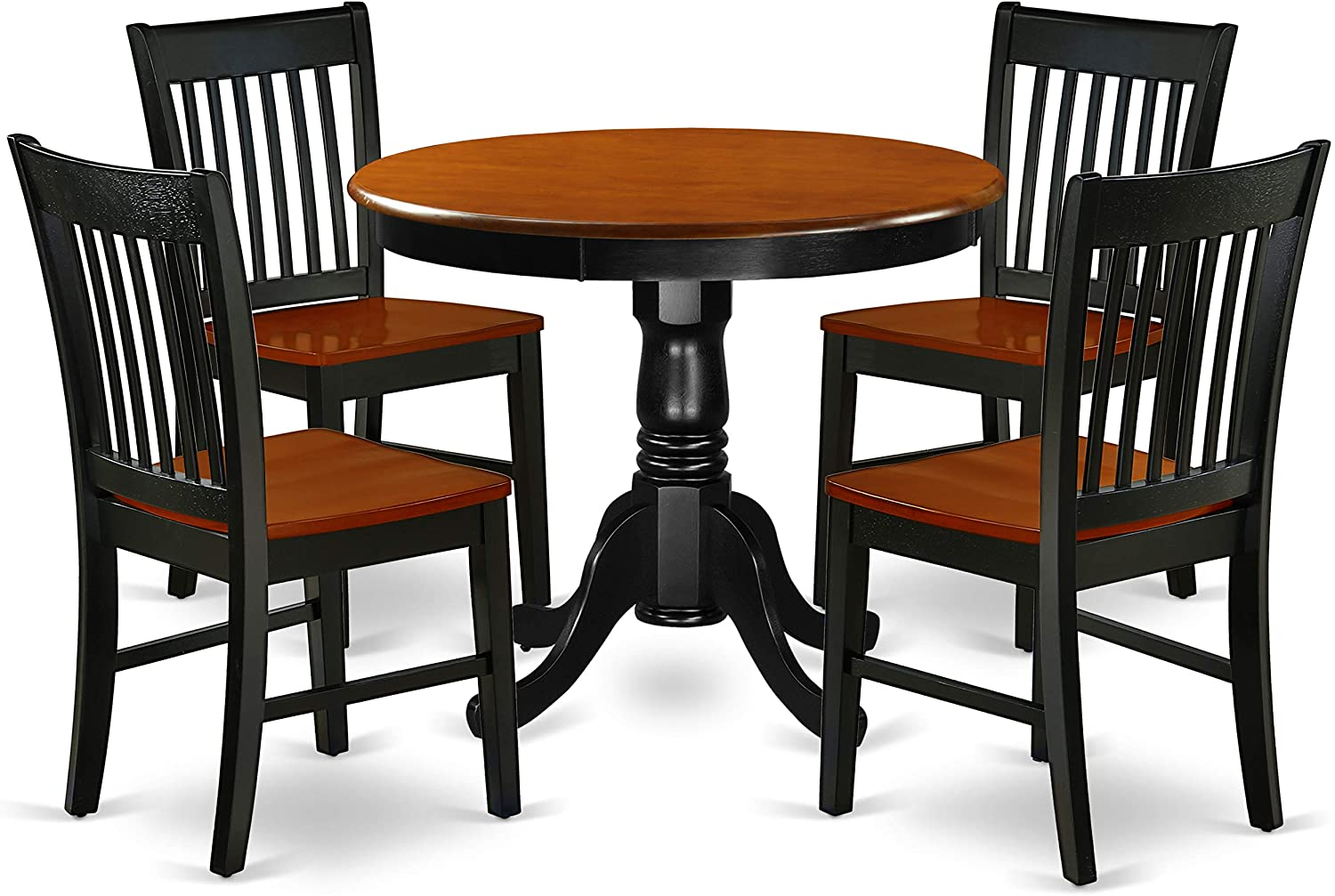 ANNO5-BCH-W 3Pc Round 36 Dinner Table And Two Wood Seat Dining Chairs