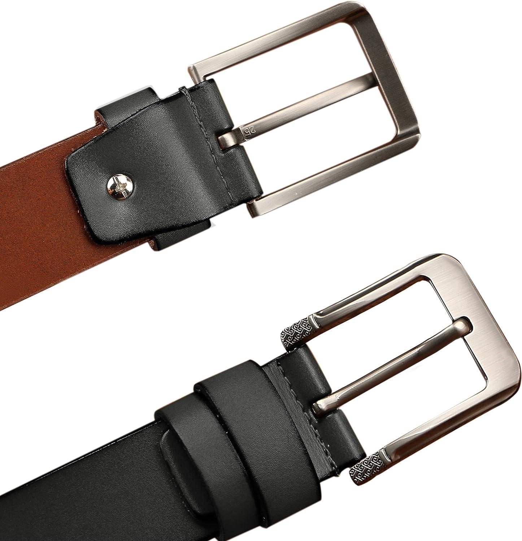 Mens belt,Jeemiters Cowhide Genuine Leather Belt for Men 1 1//2 38mm Trim to Fit