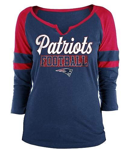 c4136916 New England Patriots Ladies Slub Jersey 3/4 Sleeve Raglan Split Scoop T- Shirt