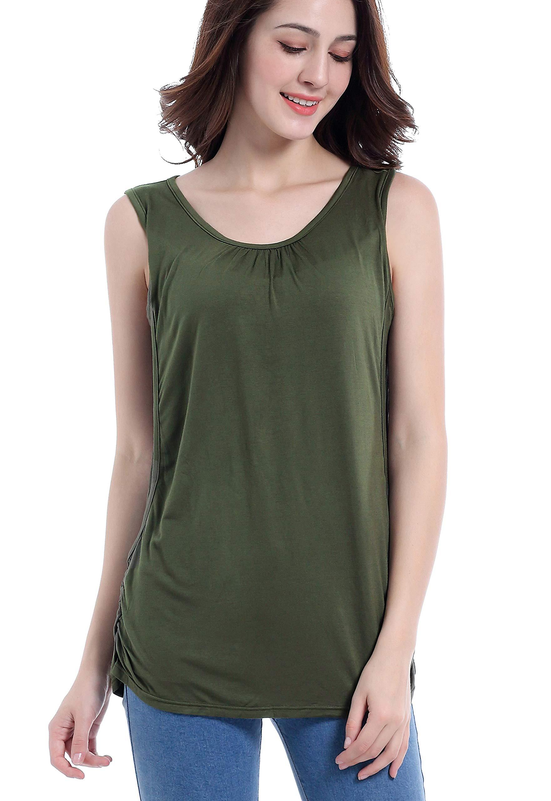 SUIEK Maternity Nursing Shirt Breastfeeding Tank Tops Cami Summer Clothes (Small, Army Green)