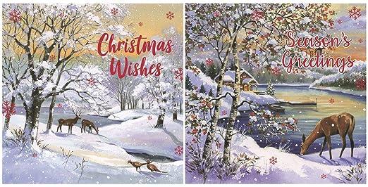 Paquete de 12 Square tarjetas de Navidad - invierno Scenic ...