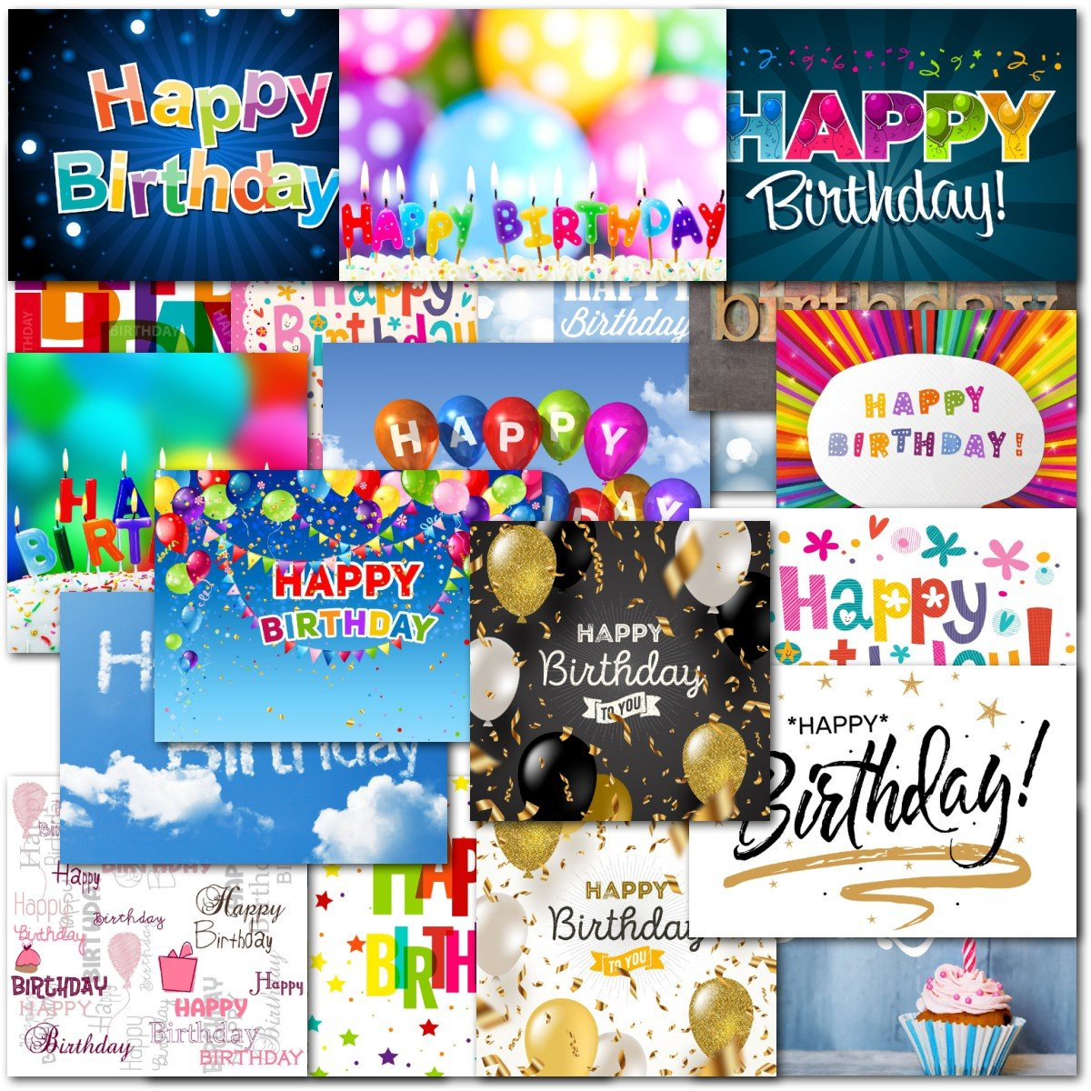 Pack Of 20 Mixed Happy Birthday Premium Greeting Cards Doodlecards Christmas Ornament