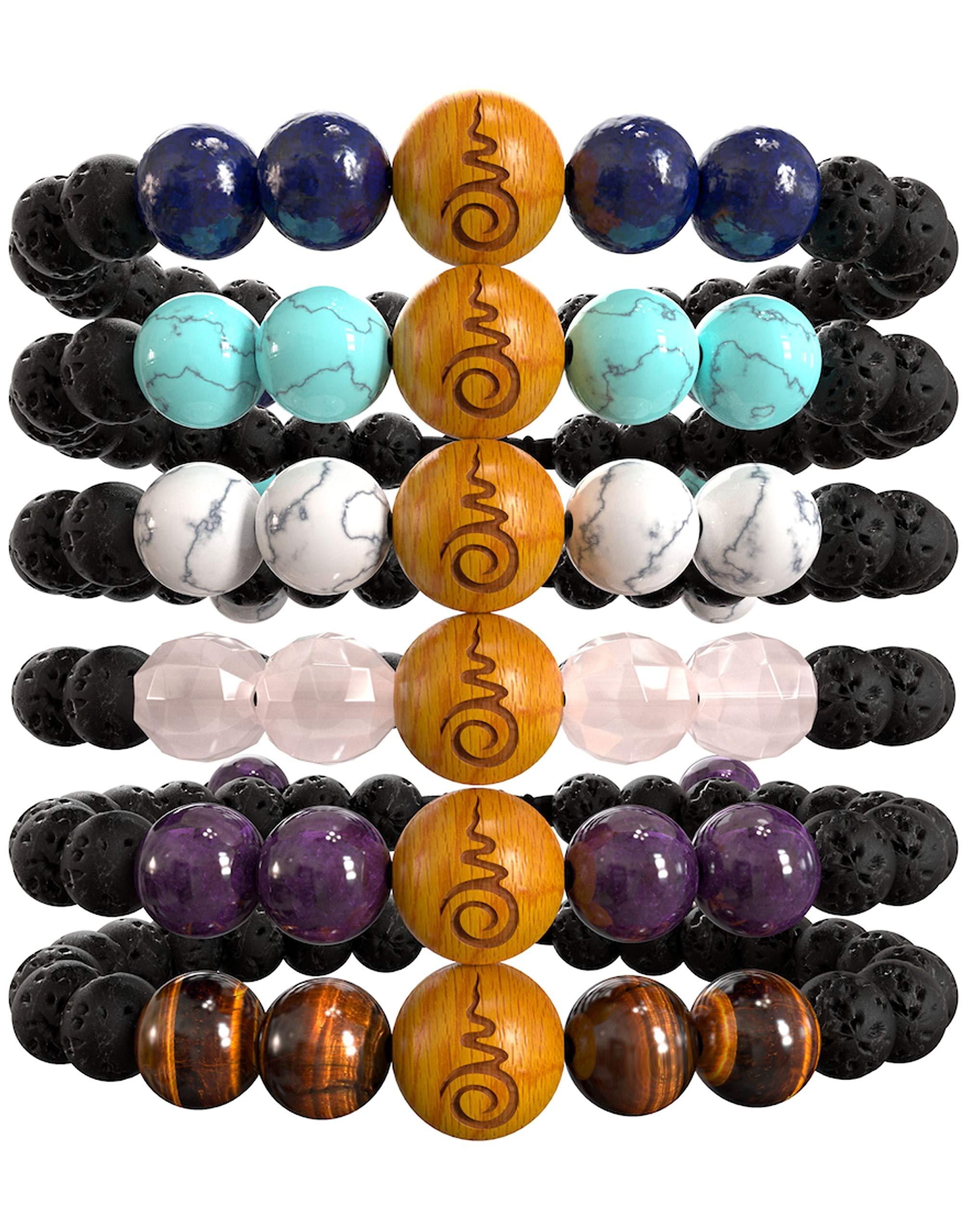 Set of 6 Boho Beaded Anxiety Bracelets for Women   Braclets with Rose Quartz, Amethyst, Tiger's Eye, Lapis Lazuli, Blue & White Howlites, Lavarock & Sandalwood. Gift Box. Gift Card + Extra Satin Bag by BE HERE NOW