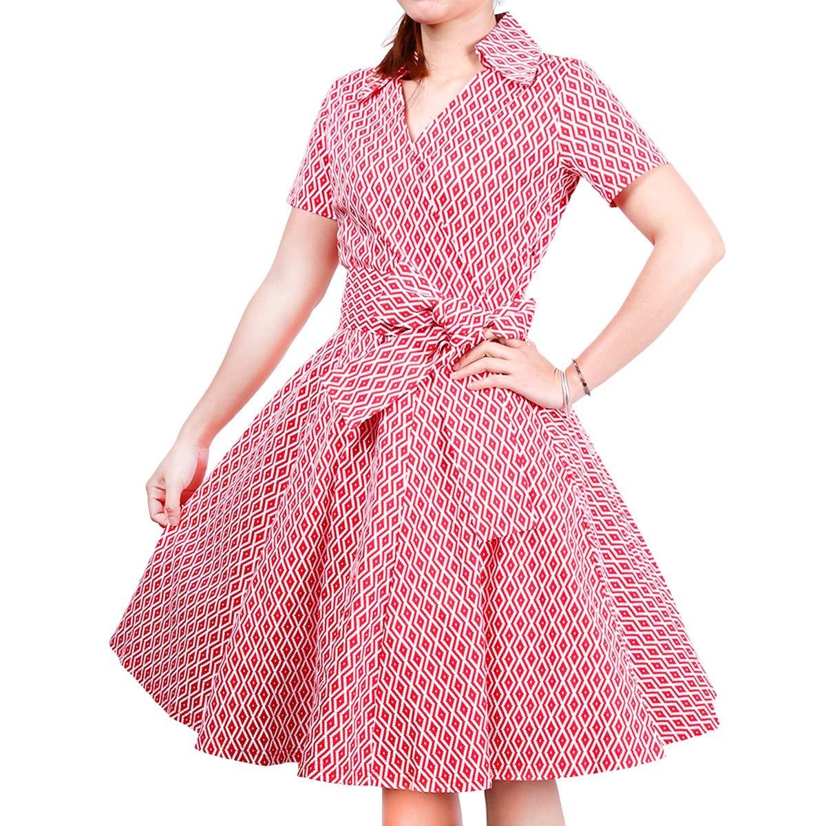 Samtree Womens Polka Dot Dresses,50s Style Short Sleeves Rockabilly Vintage Dress