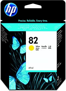 HP 82 Yellow 69-ml Genuine Ink Cartridge (C4913A) for DesignJet 820MFP, 815MFP, 800, CC800PS, 510, 500, 500 Plus, 500ps, 120, 50ps, 20ps & 10ps Large Format Printers