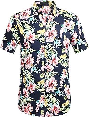 SSLR Camisa Hawaiana Colorida de Manga Corta de Flores de Verano de Hombre: Amazon.es: Ropa y accesorios