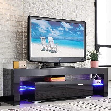 quality design d46fc 7537d TV Stand Elegant Black High Gloss LED Light Glass Shelves TV Cabinet Modern  TV Table 2 Drawers Console Durable Entertainment Center Black 63