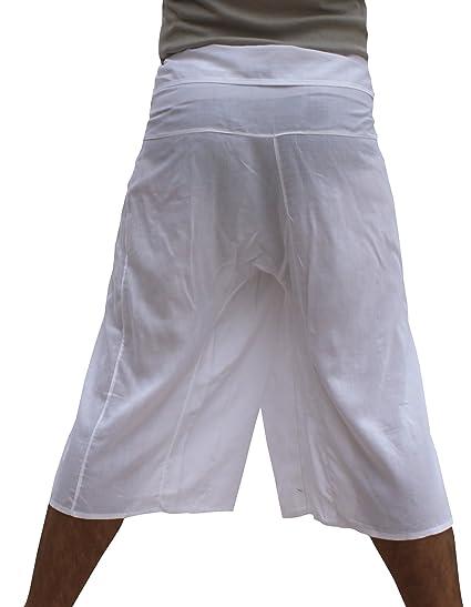 Raan Pah Muang Thin Cotton Muslin Fabric 3/4 Length Thai Wrap Pants Or Pijama
