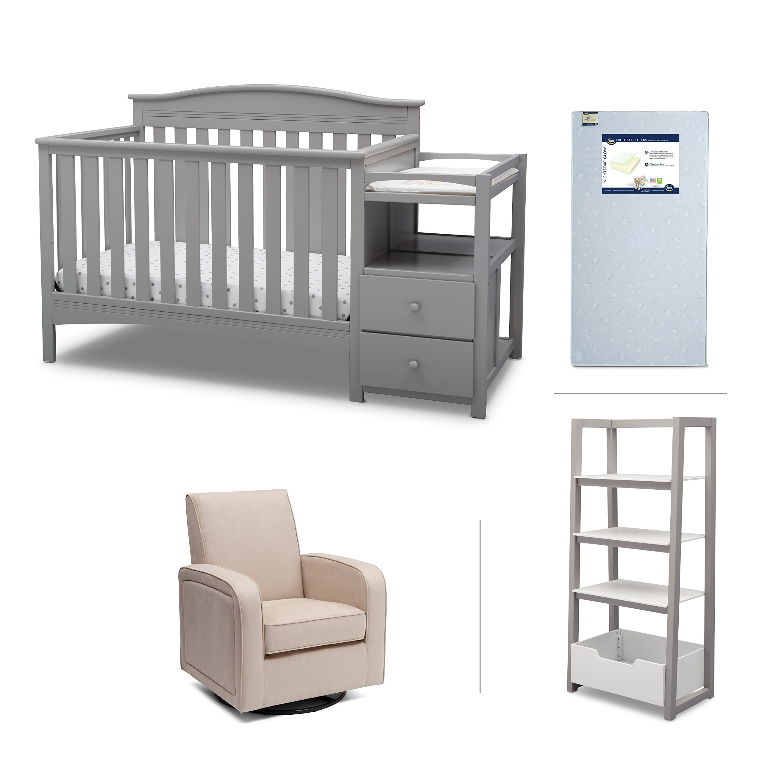 Nursery Furniture Set including Crib Mattress, Convertible Crib-N-Changer, Glider and Wood Ladder Shelf for Book and pictures – Belle by Delta Children, Grey