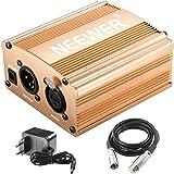Neewer 1-Canale 48V Phantom Alimentatore di colore Oro con Adattatore e Cavo Audio XLR per qualsiasi Microfono a Condensatore per Musica e studio di Registrazione