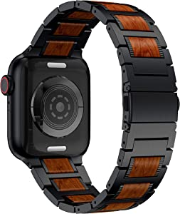 Anrir Compatible for Apple Watch 44mm 42mm Smart Watch, Red Sandalwood Wood and Black Stainless Steel Replacement Wrist Strap Compatible with Apple Watch Series 4 3 2 1