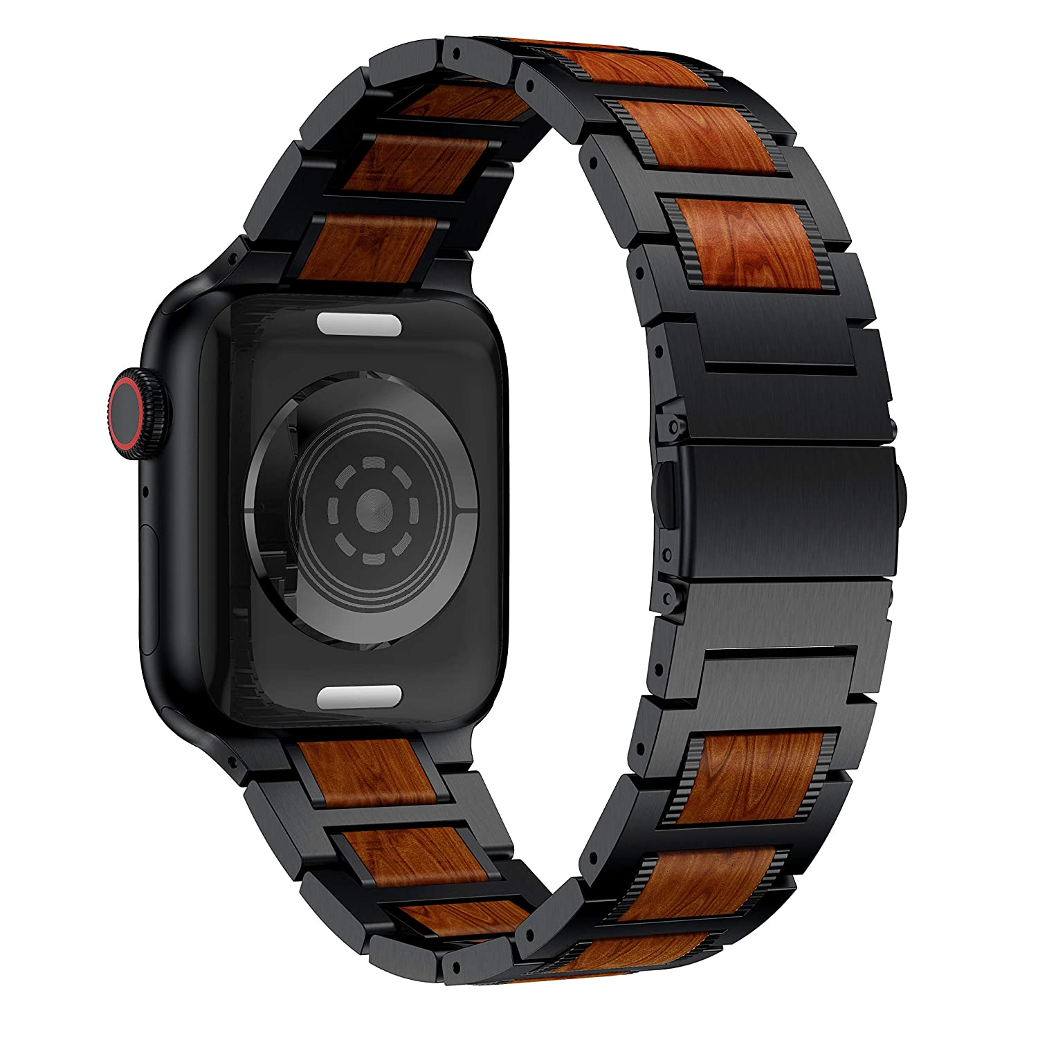 Anrir Compatible for Apple Watch 44mm 42mm Smart Watch, Red Sandalwood Wood and Black Stainless Steel Replacement Wrist Strap Compatible with Apple ...