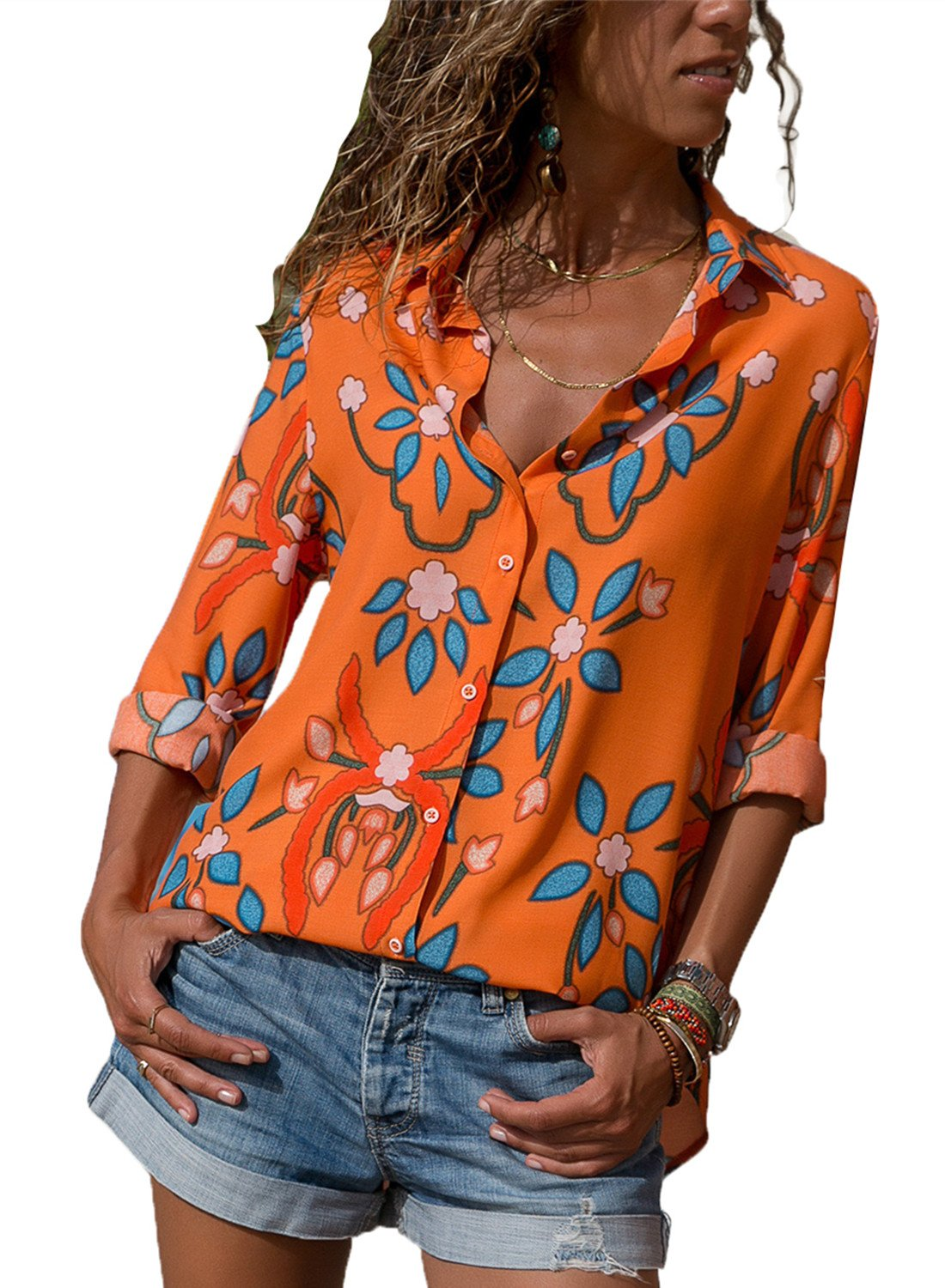 140db47682 Dokotoo Womens V Neck Ladies Winer Long Sleeve Floral Print Bohemian Button  Down Henleys Shirts Casual Blouses Tops Orange Large