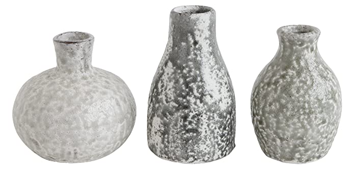 Set of 3 Terracotta Vases Distressed Gray - 3R Studios