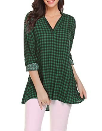 4d6b1c839cf Oyamiki Women s Collared Roll-up 3 4 Sleeve Casual Loose Polo Plaid Shirt  Green