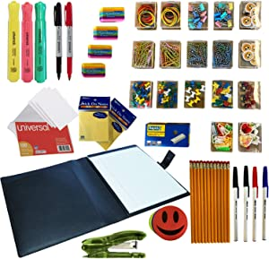 Complete Office Supply Desk Set | 1 Padfolio/Portfolio | Stapler, Paper Clips, Rubber Bands, Pens, 2 Pencils, Sticky Note Pads, Erasers, Index Cards, Permanent Markers, Highlighters, and Staples.