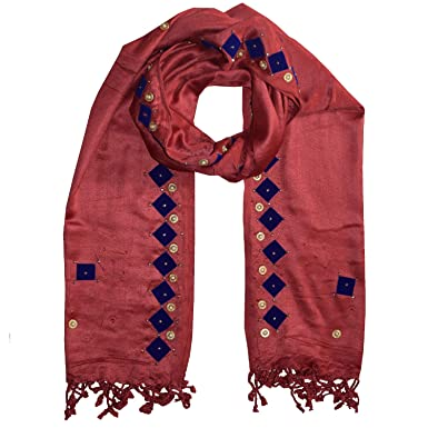 00c324d858368 PSS Premium Quality Handcrafted Patch Border Design Maroon Color All Season  Stoles Soft Cotton Trendy Scarves Stoles and Scarf for Women and Girls: ...
