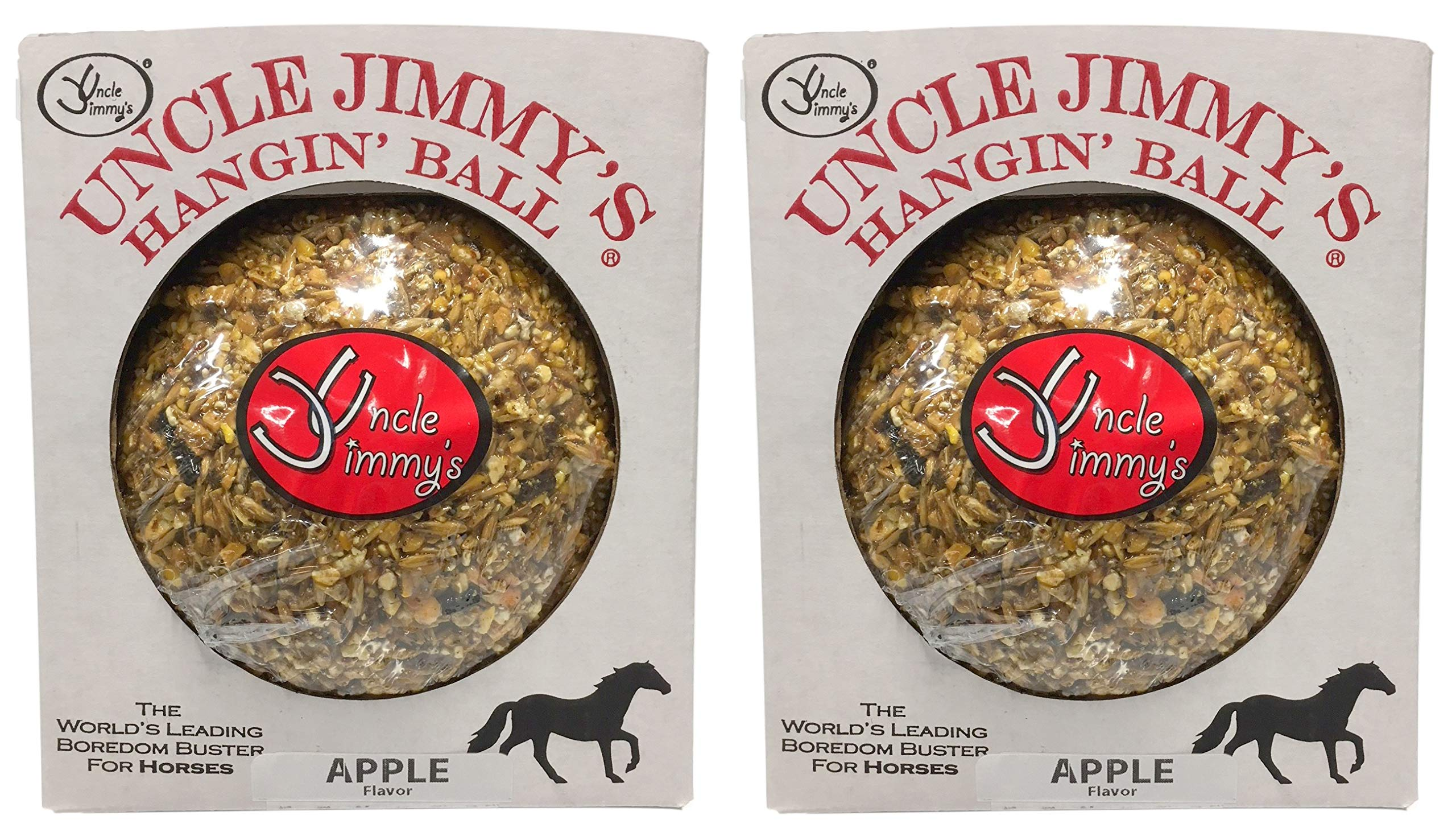 Uncle Jimmys 2 Pack Of Hanging Ball Apple Flavored Treats For Horses, 3 Pound Each by Uncle Jimmys