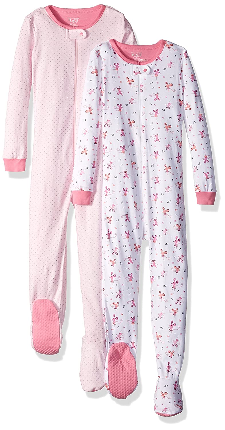 25cffbe758 Amazon.com  The Children s Place Baby Girls  Long Sleeve One-Piece Pajama  (Pack of 2)  Clothing