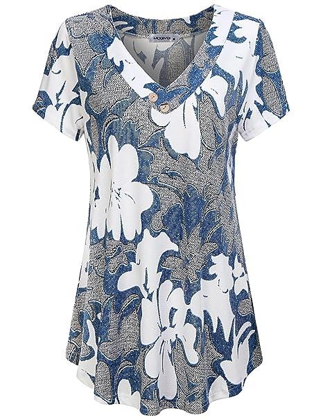 38ee834c40bf29 MOQIVGI Women s V Neck Short Sleeve Floral Print Blouse Tops Fashion ...