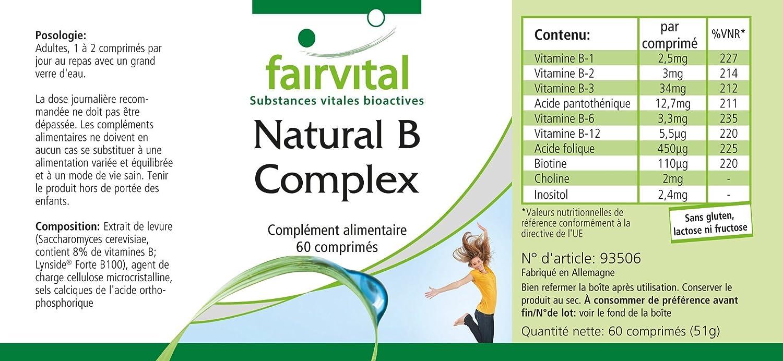 Natural B-Complex de una fuente natural (levadura) - para 2 meses - VEGANO - 60 comprimidos - con colina e inositol: Amazon.es: Salud y cuidado personal