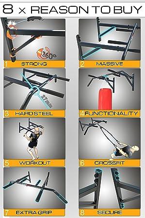 Magnus Power Mp1035 - Barra de Dominadas de Montaje en Pared (6 Agarres) + Guantes + Gancho Para Sling Trainer / Saco de Boxeo