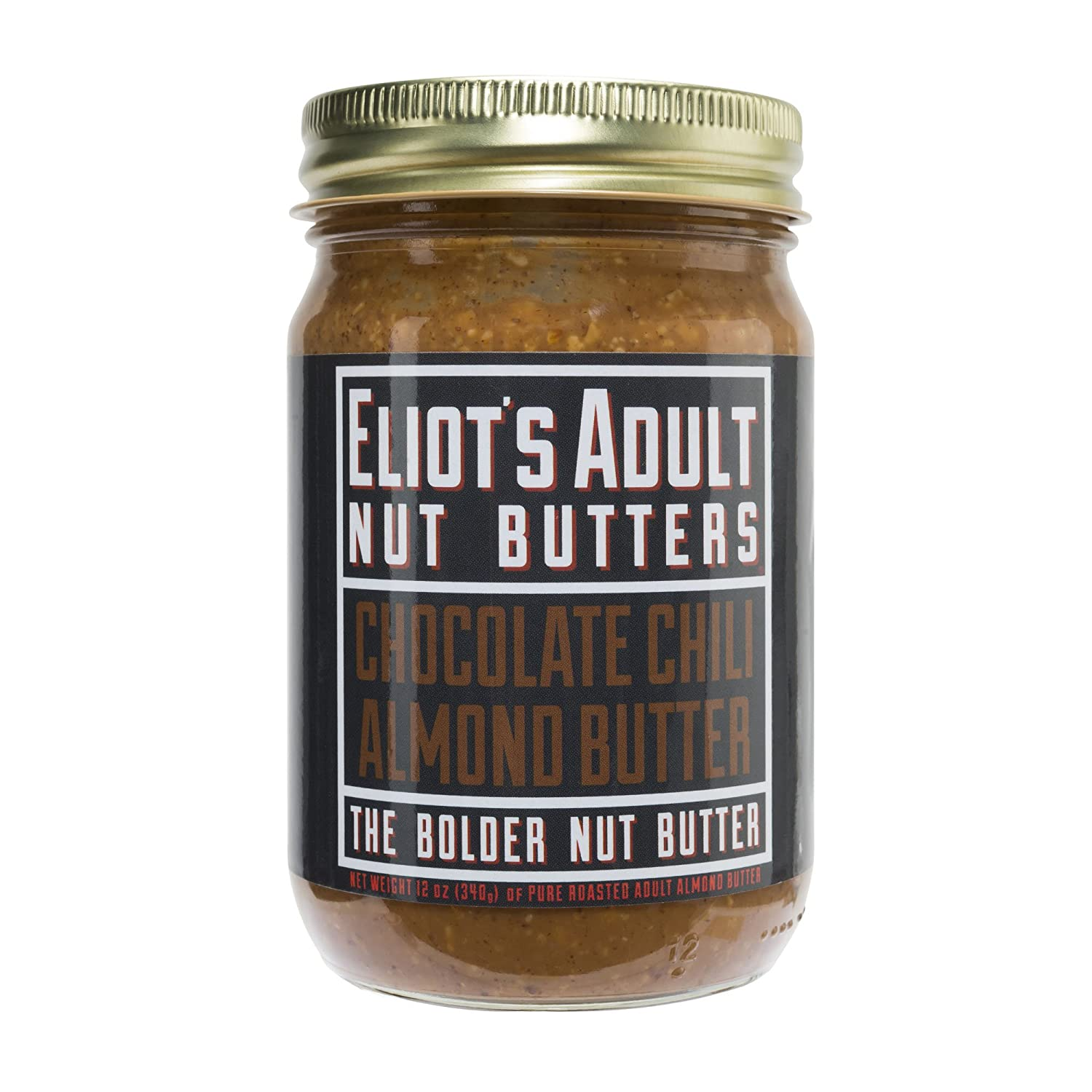 Amazon.com : Eliots Adult Nut Butters Chocolate Chili Almond Butter, 12 Ounce, Non-GMO, Gluten Free, Vegan, Keto and Paleo Friendly, 72 grams of Protein ...