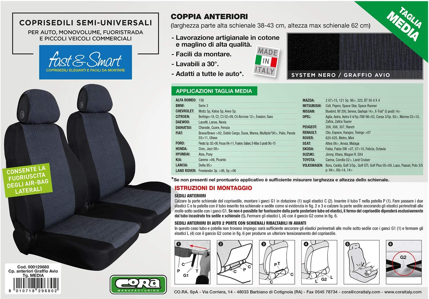 Cora 000129680 Front Seat Covers Fast/&Smart Size Medium Tess Graffio Avio