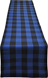 Yourtablecloth Buffalo Plaid Checkered Table Runner Trendy & Modern Plaid Design 100% Cotton Tablerunner Elegant Décor for Indoor&Outdoor Events 14 x 72 Blue and Black