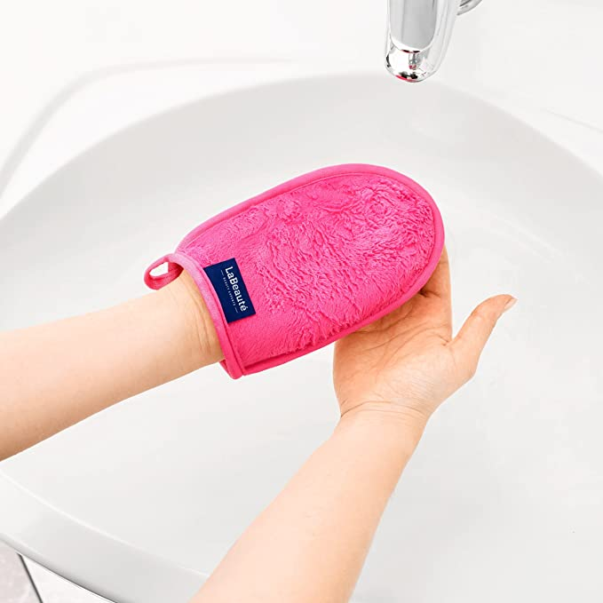 Guante desmaquillantes reutilizables La Beauté - Guante para cara ecológicas y lavables - Guante de microfibra para limpieza facial - 20 x 13 cm - Rosa - 1 ...