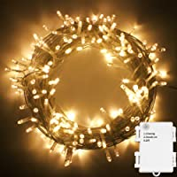 50/100/200/300/400/500 LED Battery Power Operated String Fairy Lights Christmas Xmas Garden Party Wedding Decoration (Warm White, 200 LEDs)