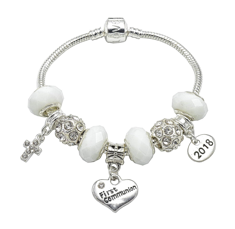 Bracelet à breloques pour fille avec boîte cadeau Motif «2017» et «First communion» Plaqué argent Jewellery Hut BR2017COMMUNIONWHITE-17